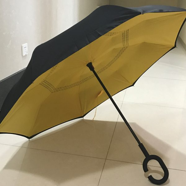 New Era of Umbrella awaits An innovative new umbrella design that is Simple, Stylish & ultra Convenient Welcome to a new era of umbrellas - Keep dry while getting in and out of your car Simply push upwards to open, just like a conventional umbrella The Inverted Umbrella folds inside out as you open it Then elegantly folds out and locks into the shape of classic stylish umbrella Minimise getting wet while exiting and entering your car, as the wet surface folds away inside the umbrella No need to leave your umbrella at the door or entrance, as the umbrella will not drip! Drip Free Design Keep your car and floor dry with the Inverted Umbrella's reverse folding design The wet outside surface is folded inside the umbrella Keeps the interior of your car dry Never again will have to leave your umbrella at the cafe or shop entrance because it is wet Free yourself -New C-shape Handle Allows you to free your hands Make calls, send text, take photos Or, get your keys from your bag or pocket Free Standing Design The Inverted Umbrella stands alone (no leaning against a wall or table) You can stand your umbrella next to you A flat top replaces the conventional pointy top to allow for a free standing umbrella