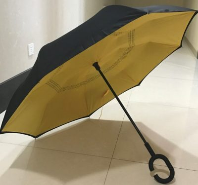 New Era of Umbrella awaits An innovative new umbrella design that is ​Simple, Stylish & ultra Convenient Welcome to a new era of umbrellas - Keep dry while getting in and out of your car Simply push upwards to open, just like a conventional umbrella The Inverted Umbrella folds inside out as you open it Then elegantly folds out and locks into the shape of classic stylish umbrella​ Minimise getting wet while exiting ​and entering your car, as the wet surface folds away inside the umbrella No need to leave your umbrella at the door or entrance, as the umbrella will not drip! Drip Free Design Keep your car and floor dry with the Inverted Umbrella's reverse folding design ​The wet outside surface is folded inside the umbrella​ Keeps the interior of your car dry Never again will have to leave your umbrella at the cafe or shop entrance because it is wet Free yourself -New C-shape Handle Allows you to free your hands Make calls, send text, take photos Or, get your keys from your bag or pocket Free Standing Design The Inverted Umbrella stands alone (no leaning against a wall or table) ​You can stand your umbrella next to you ​A flat top replaces the conventional pointy top​​ to allow for a free standing umbrella